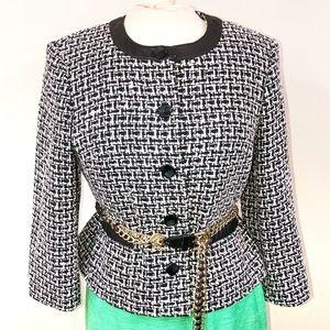 Pendleton Silk Tweed Leather Trim Blazer Sz 8